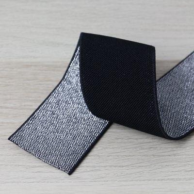 elastico per cinturini nero e argento 50 mm