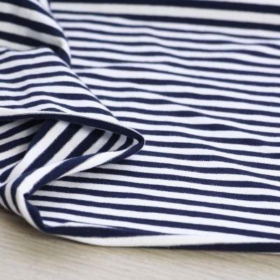 tessuto in jersey di cotone a righe blu navy