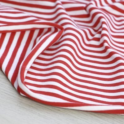 tessuto in jersey di cotone a righe rosse