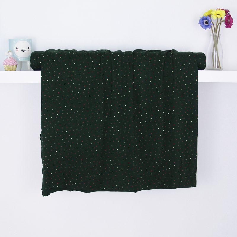 tessuto in jersey di viscosa verde scuro a pois