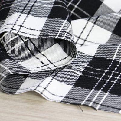 tessuto tartan bianco e nero per abbigliamento