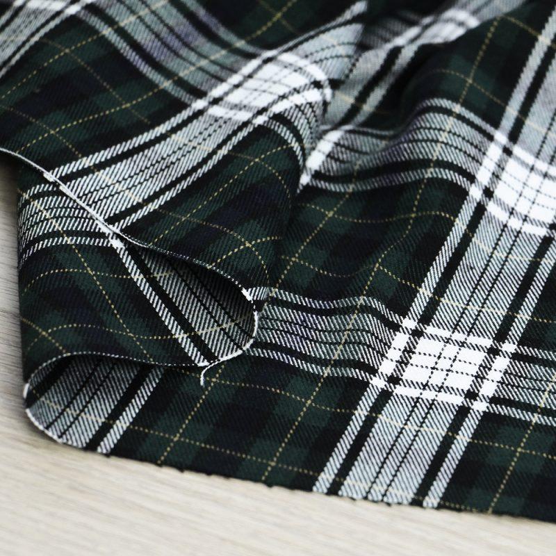 tessuto tartan bianco e verde per abbigliamento