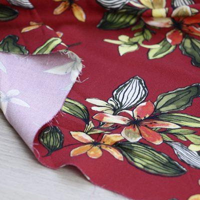 tessuto di viscosa a fiori rosso