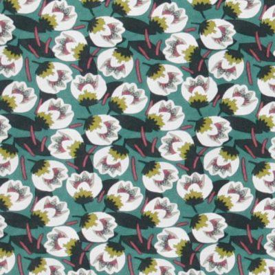 Tessuto in viscosa con stampa a fiori e fondo verde acqua - CAMPIONE