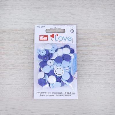Bottoni a pressione automatici Prym Love - azzurro e blu