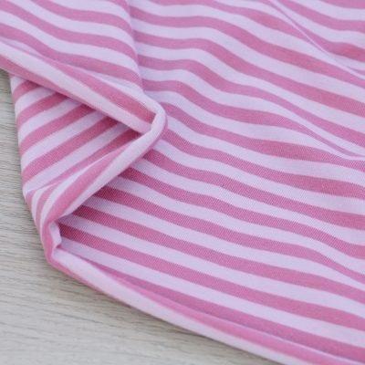 Tessuto in jersey di cotone a righe rosa antico