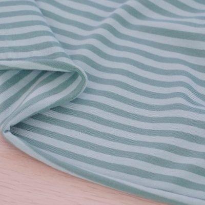 Tessuto in jersey di cotone a righe verde salvia
