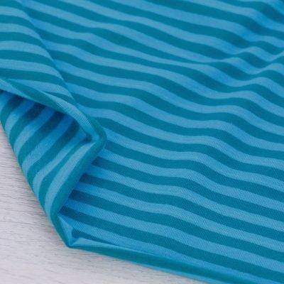 Tessuto in jersey di cotone a righe petrolio