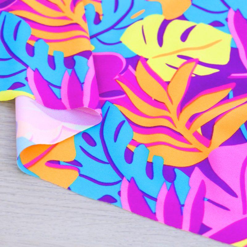 Lycra per costumi da bagno con stampa tropicale fluo