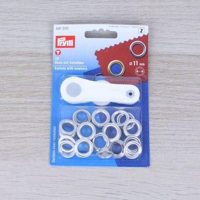 Occhielli con rondelle in ottone Prym 11 mm - Argento