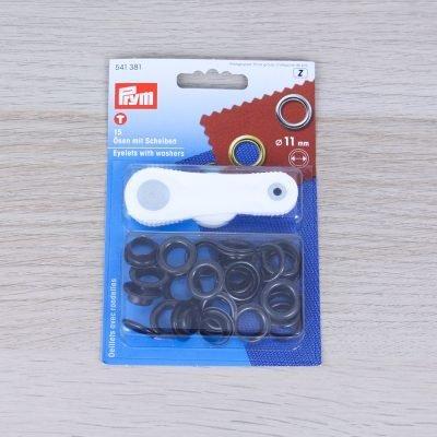 Occhielli con rondelle in ottone Prym 11 mm - Antracite
